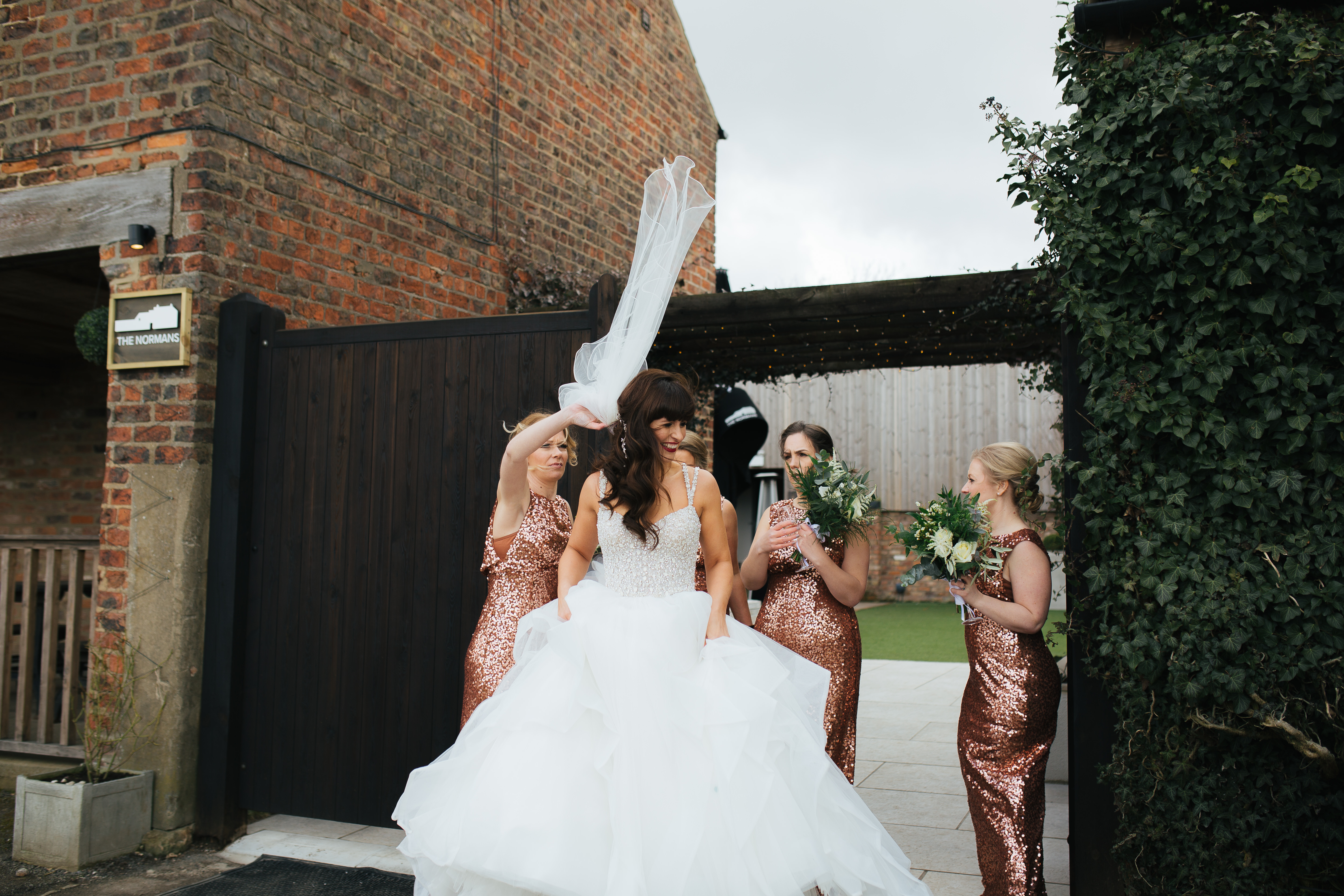 Bride and bridesmaids at the Normans 2019